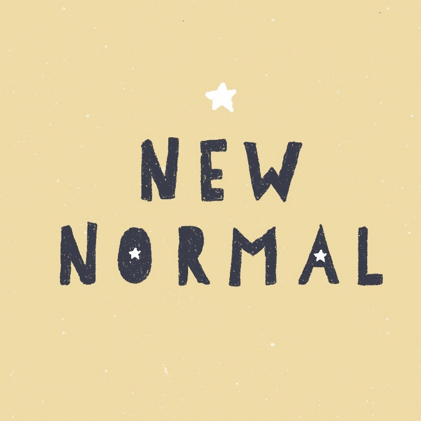 Hand lettering new normal with stars