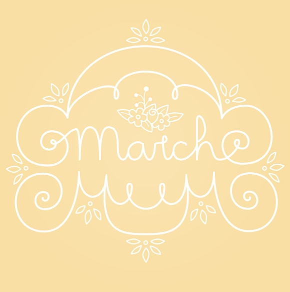 March Lettering Illustration Yellow White with Flourishes