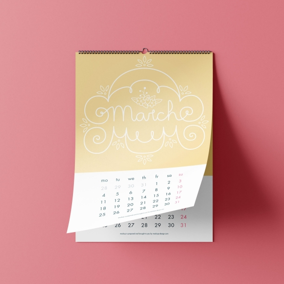 March Lettering Illustration Calendar Yellow and White