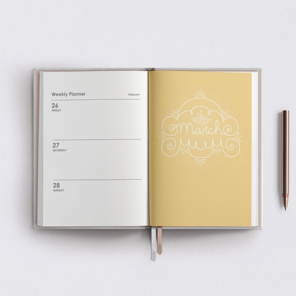 March Lettering Illustration Planner Yellow and White